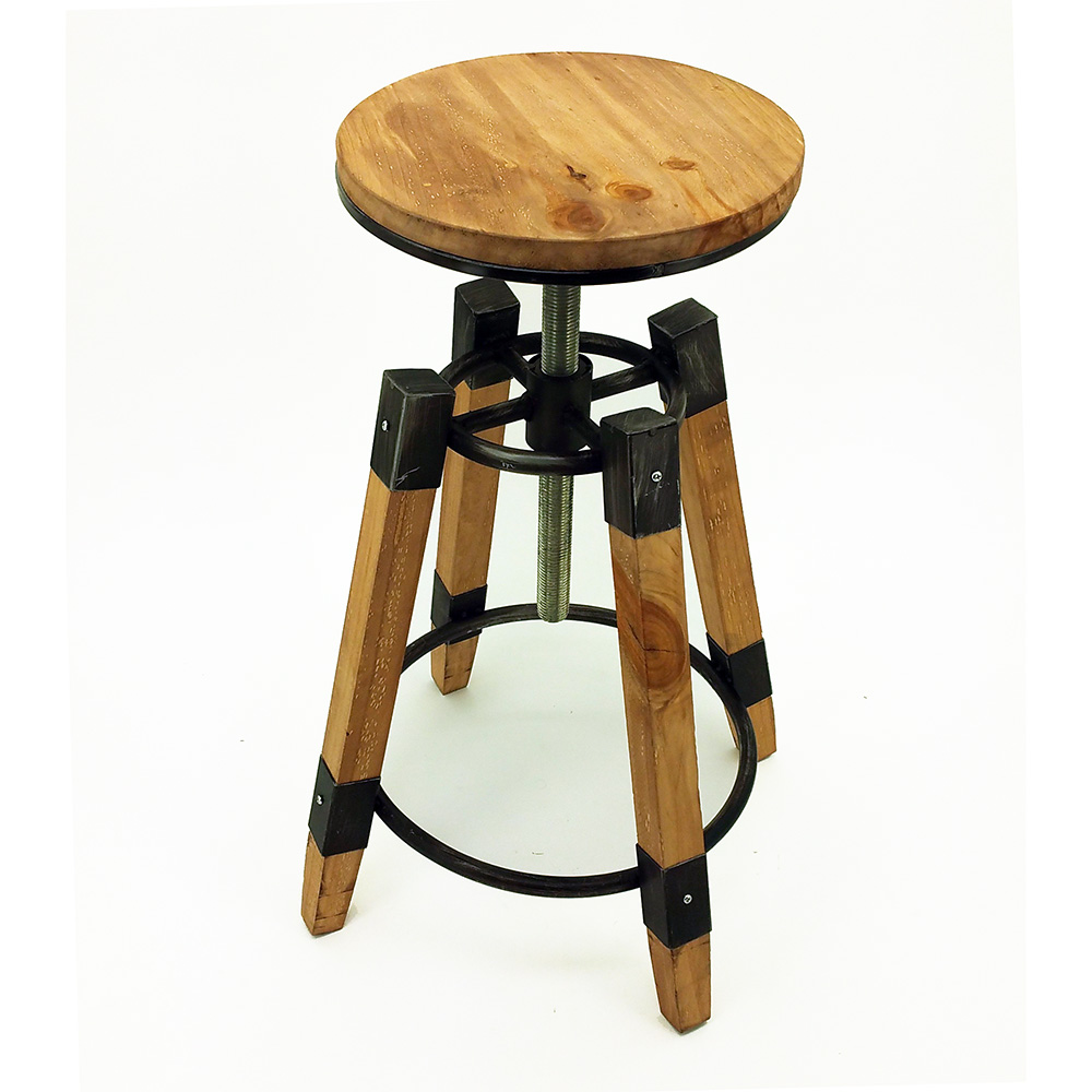 Set of modern retro wood barstool adjustable rustic bar