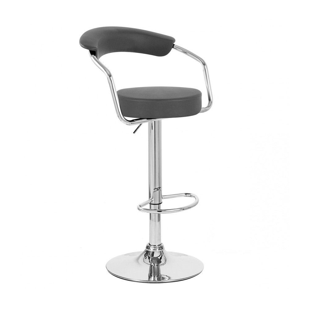 Black Chrome Leather Adjustable Swivel Barstool Bar