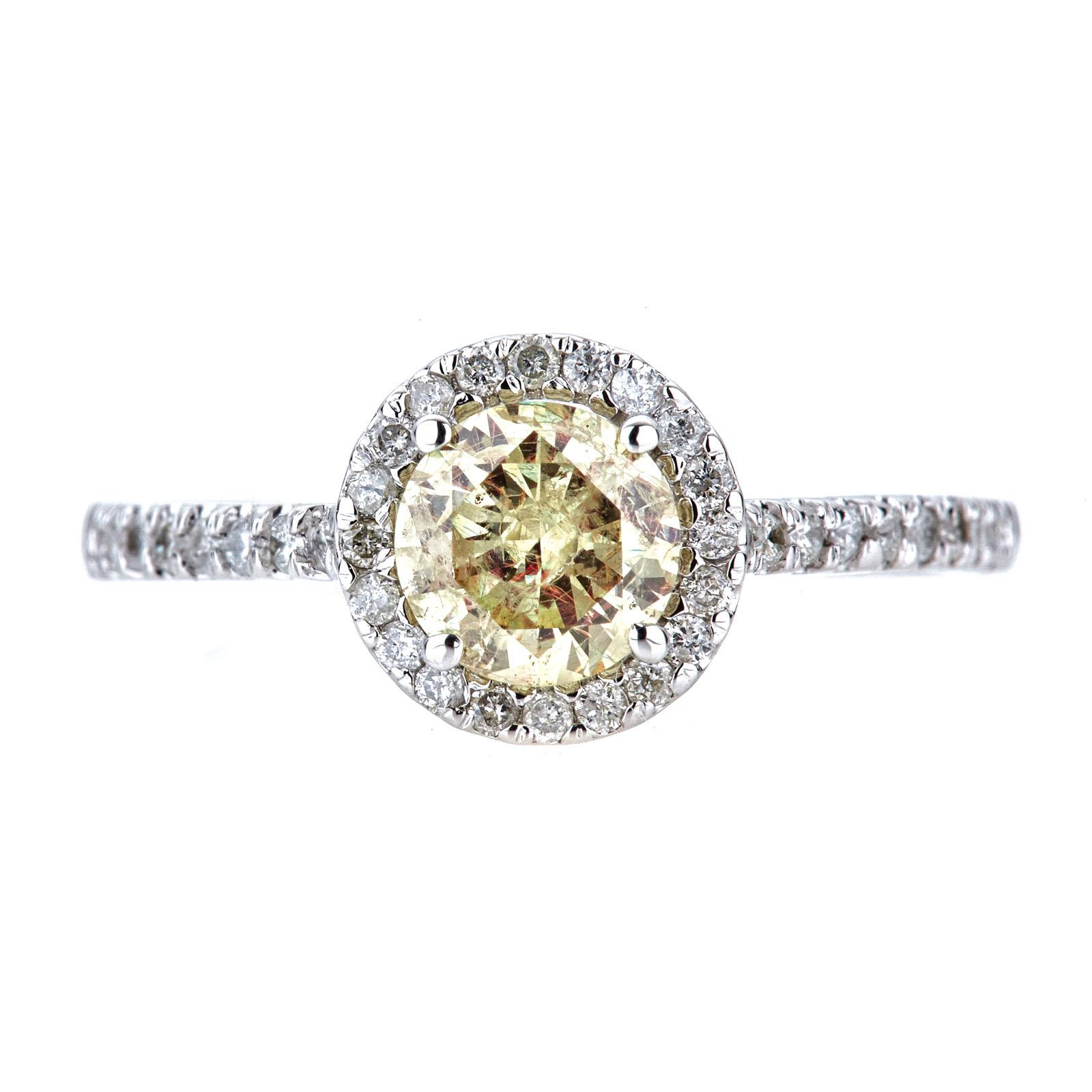 Fine Rings Diamond Certified 0.87 Carat E Si2 Round Brillant Halo Diamond Ring 14k W Gold Enhanced