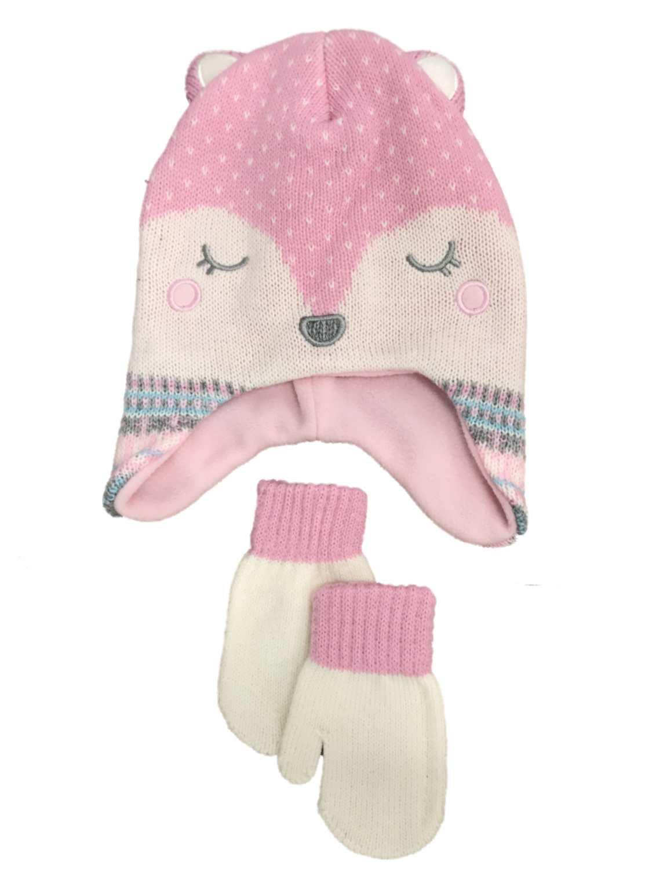 98282b337cf Critter Toddler Girls Pink Knit Fox Critter Trapper Hat   Mittens Set