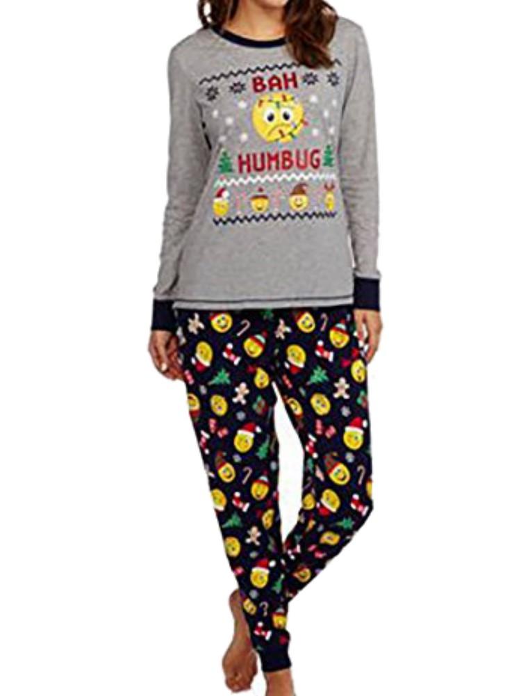 b12aebe251 Secret Treasures Womens Gray   Blue Emoji Holiday Pajamas Bah Humbug  Christmas Sleep Set