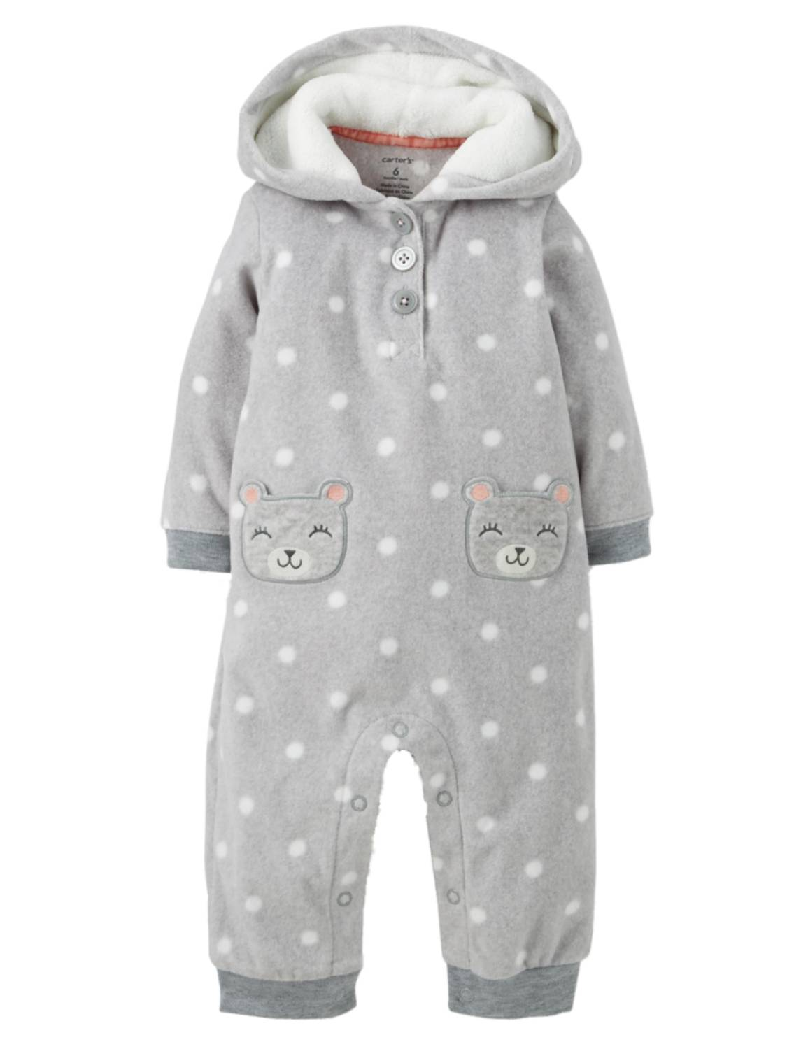 16d29b791281 Carter s Carters Infant Girls Gray Fleece Polka Dot Teddy Bear ...