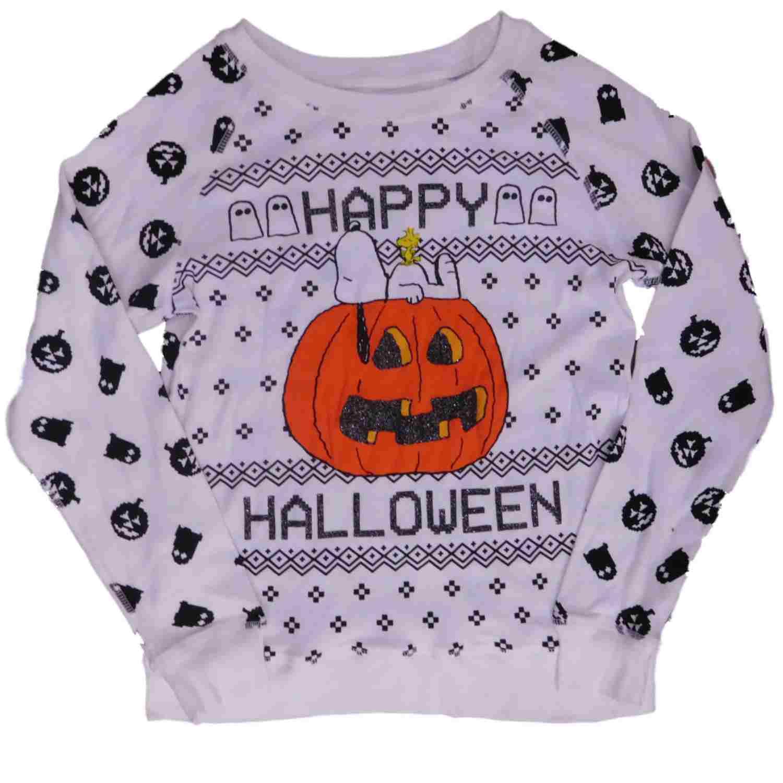 peanuts junior womens white happy halloween snoopy sweatshirt