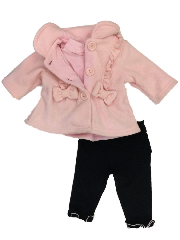 a919861e07933f Good Lad Infant Girls Pink Fleece Jacket Bodysuit & Black Leggings 3 pc  Baby Outfit