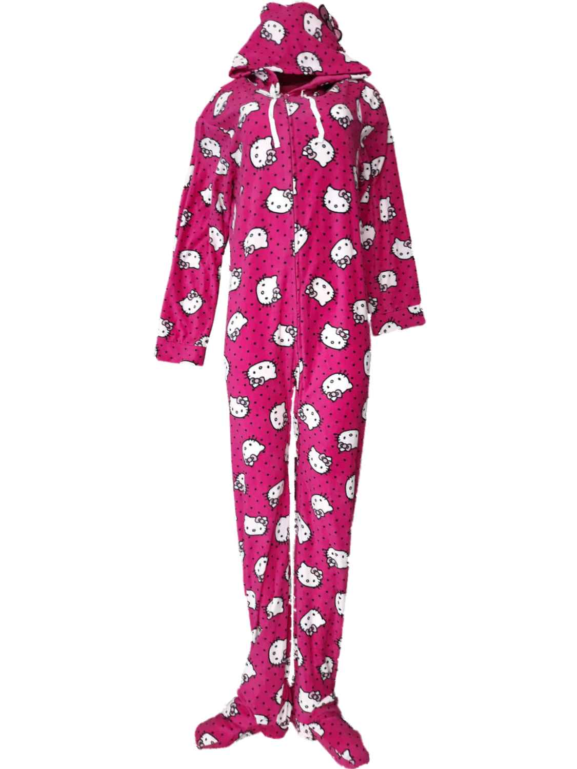 db0eadb16 Hello Kitty Women Hello Kitty Cat Kitten Polka Dot Union Suit Blanket  Sleeper Pajama X-