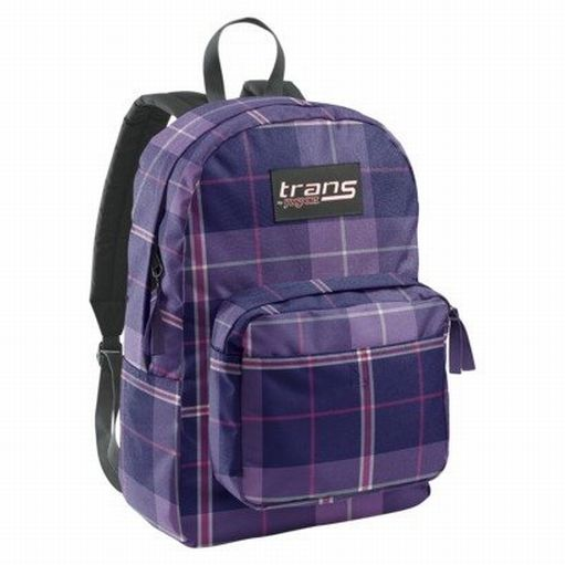 Jansport Trans Purple Plaid Backpack Sport School Travel