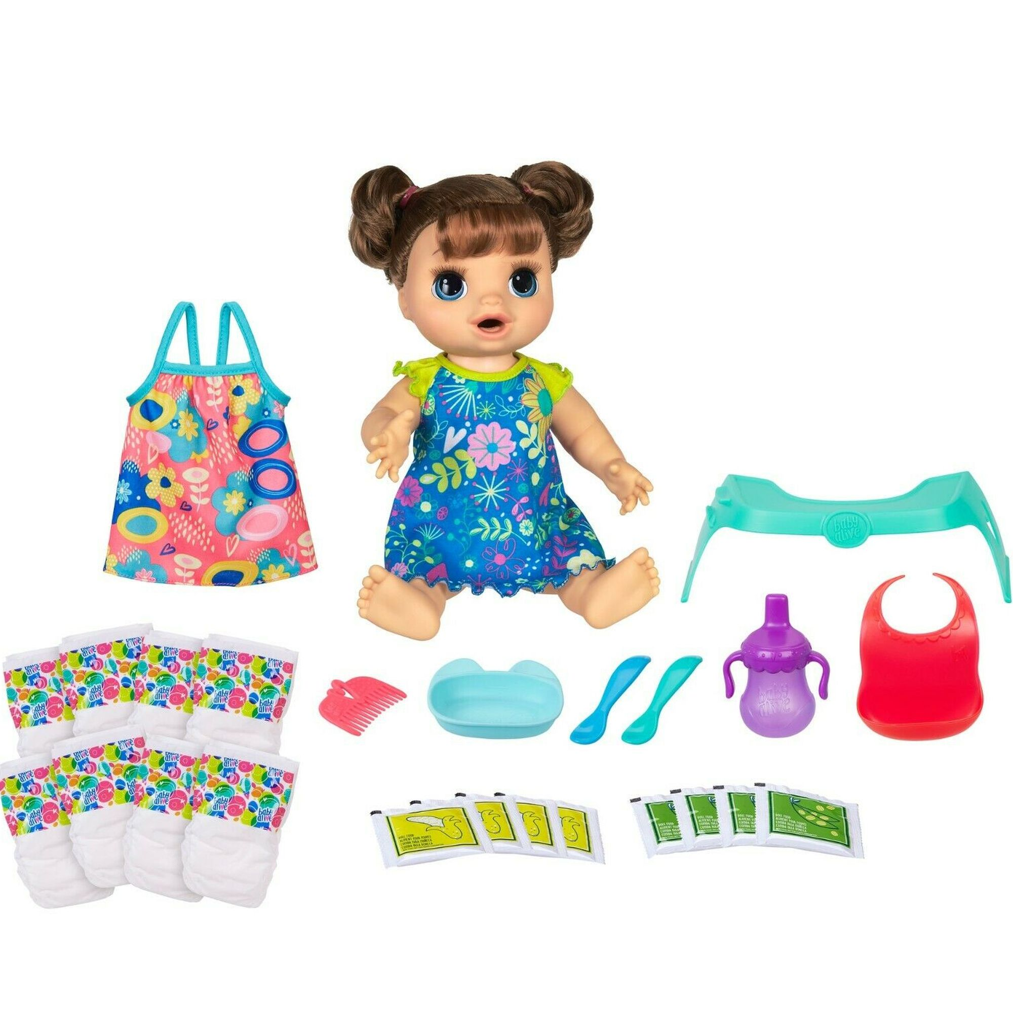 Baby Alive Happy Hungry Baby Brown Hair Doll With 50 Sounds Phrases Plus Bonus