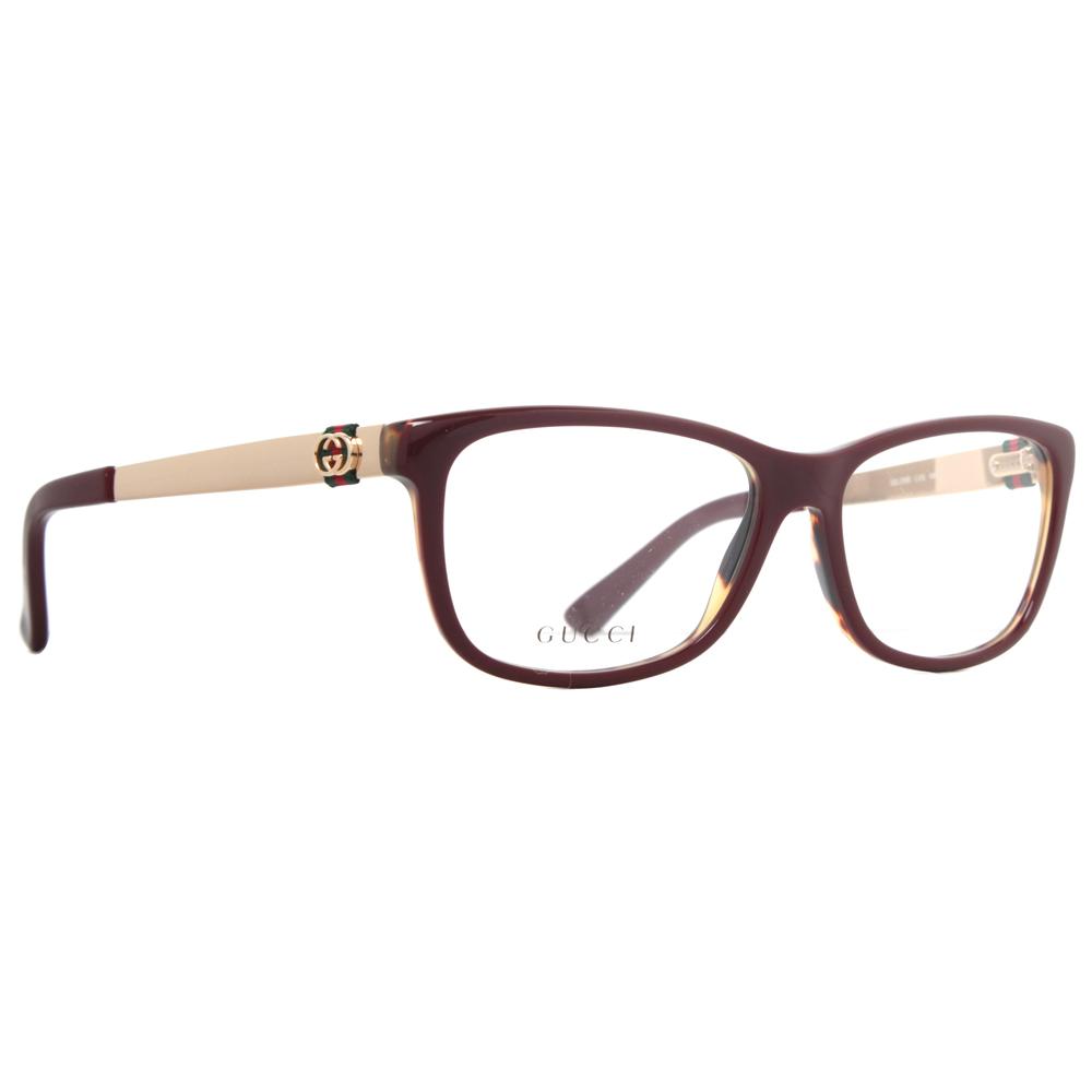 3d873c7f11a GUCCI GG 3785 LVS 53mm Burgundy Havana Gold Women  39 s Rectangular  Eyeglasses -