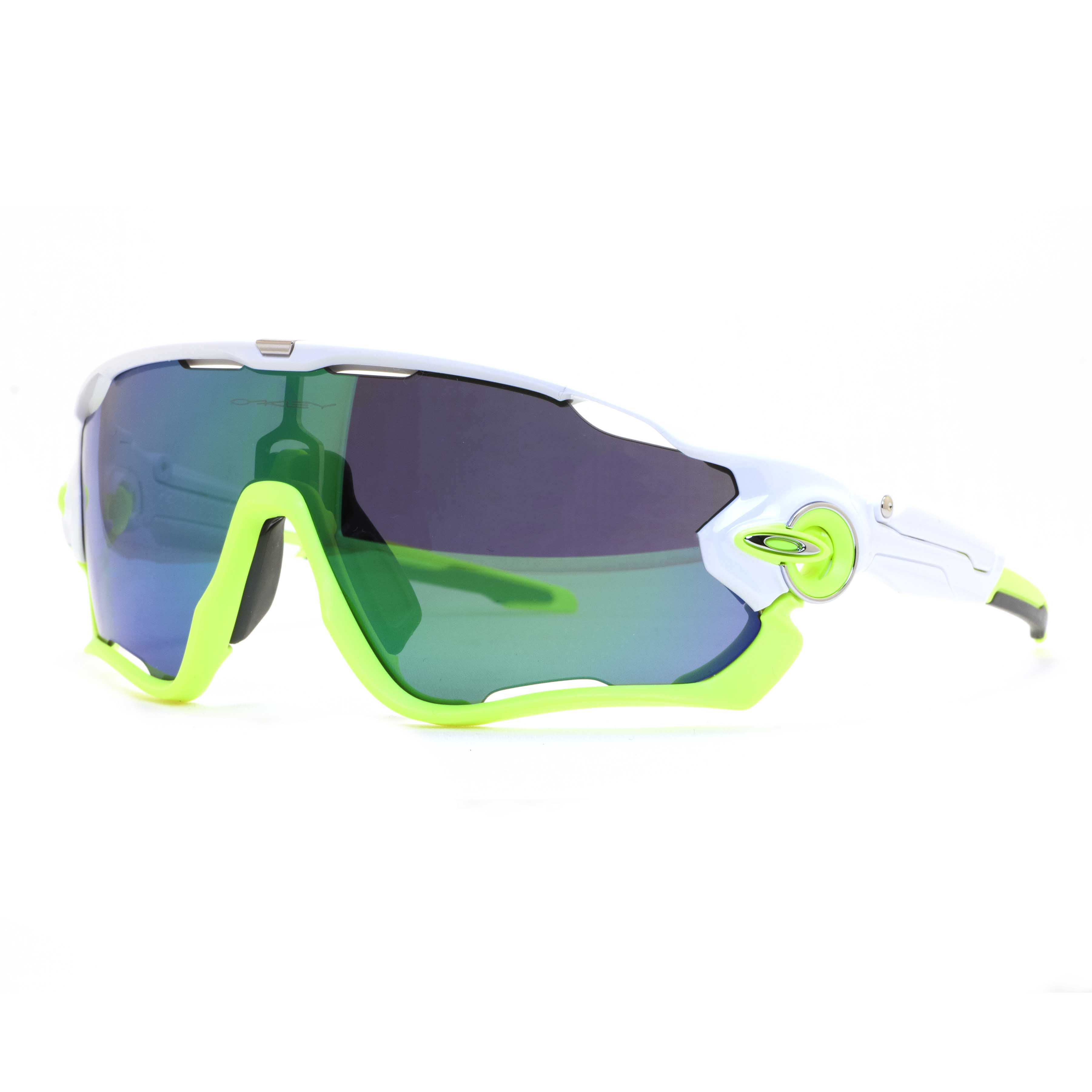 38e4f9f40bca Oakley JawBreaker OO9290-03 White Lime Green Iridum Sport Shield Sunglasses