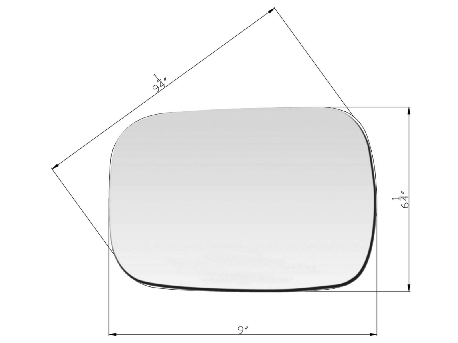 "For 1988-2002 GM C//K Pickup Mirror Glass W// Adhesive Pads 6x9/"" Driver Left Side"