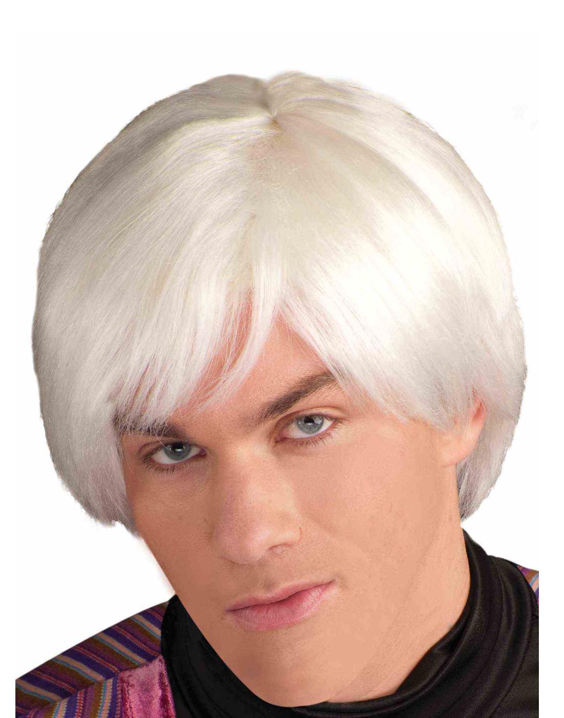 Pop Artist Mens Adult Andy Warhol White Platinum Costume Wig
