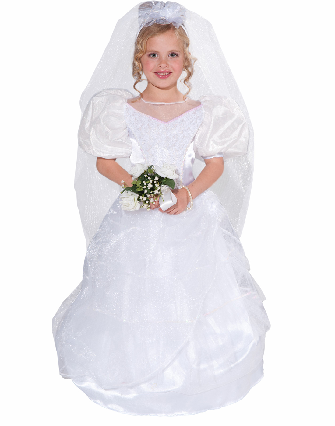 Details about First Dance With Daddy Little Bride Wedding Dress Girl  Halloween Costume