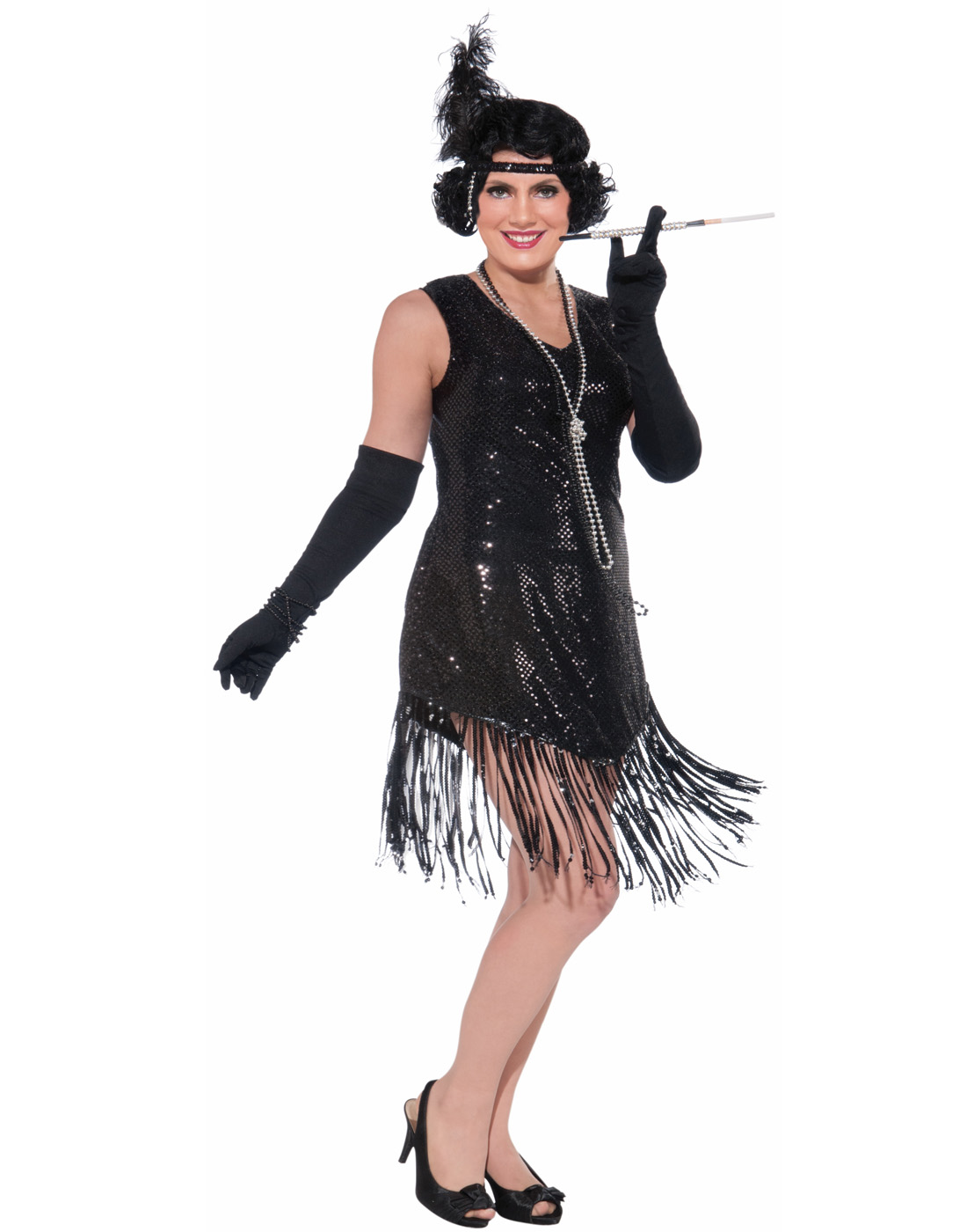 Details about 1920\'S Swinging In Sequence Black Fringed Gatsby Plus Size  Flapper Costume Dress