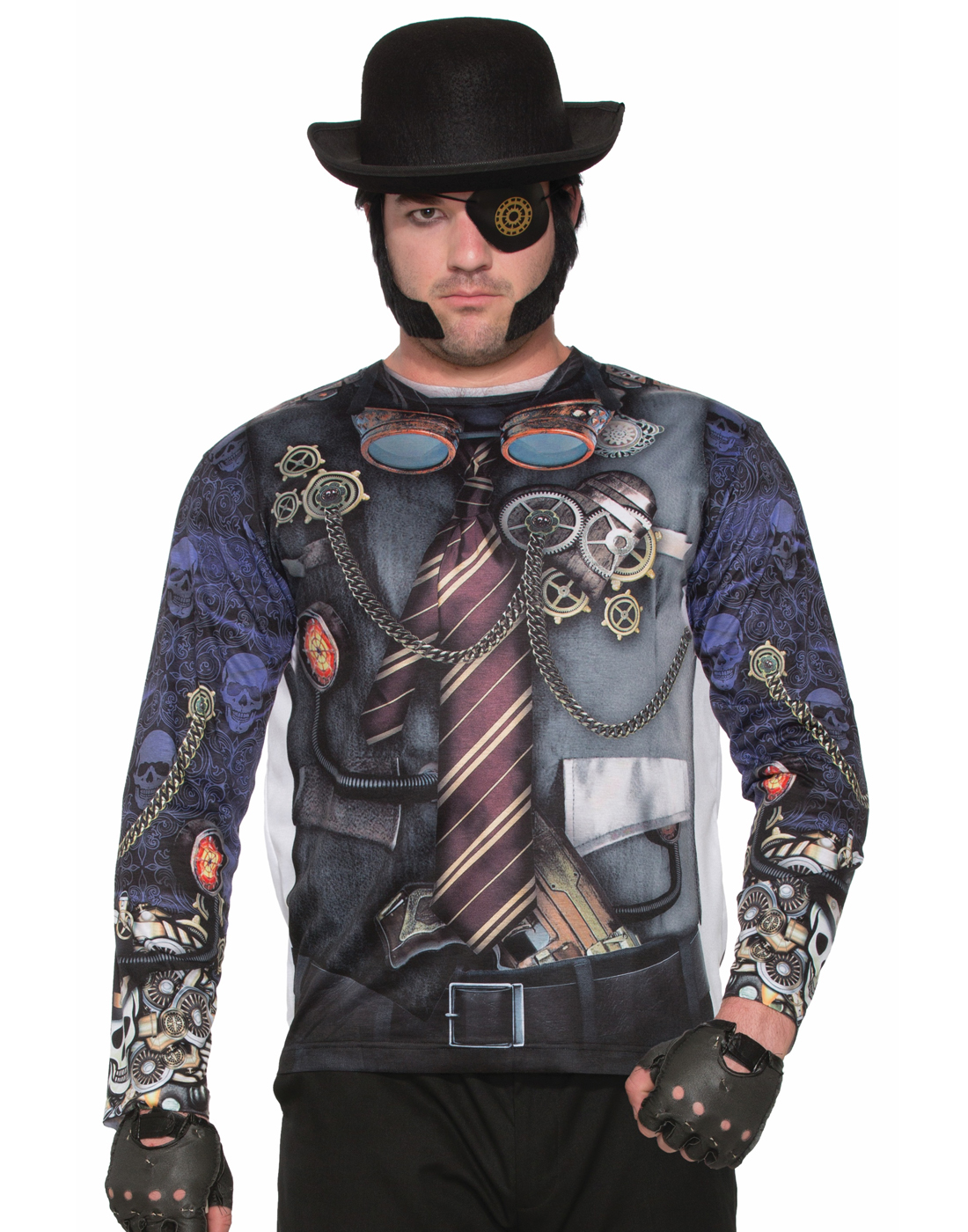 Steampunk Mens Adult Industrial Fantasy Printed Costume Shirt