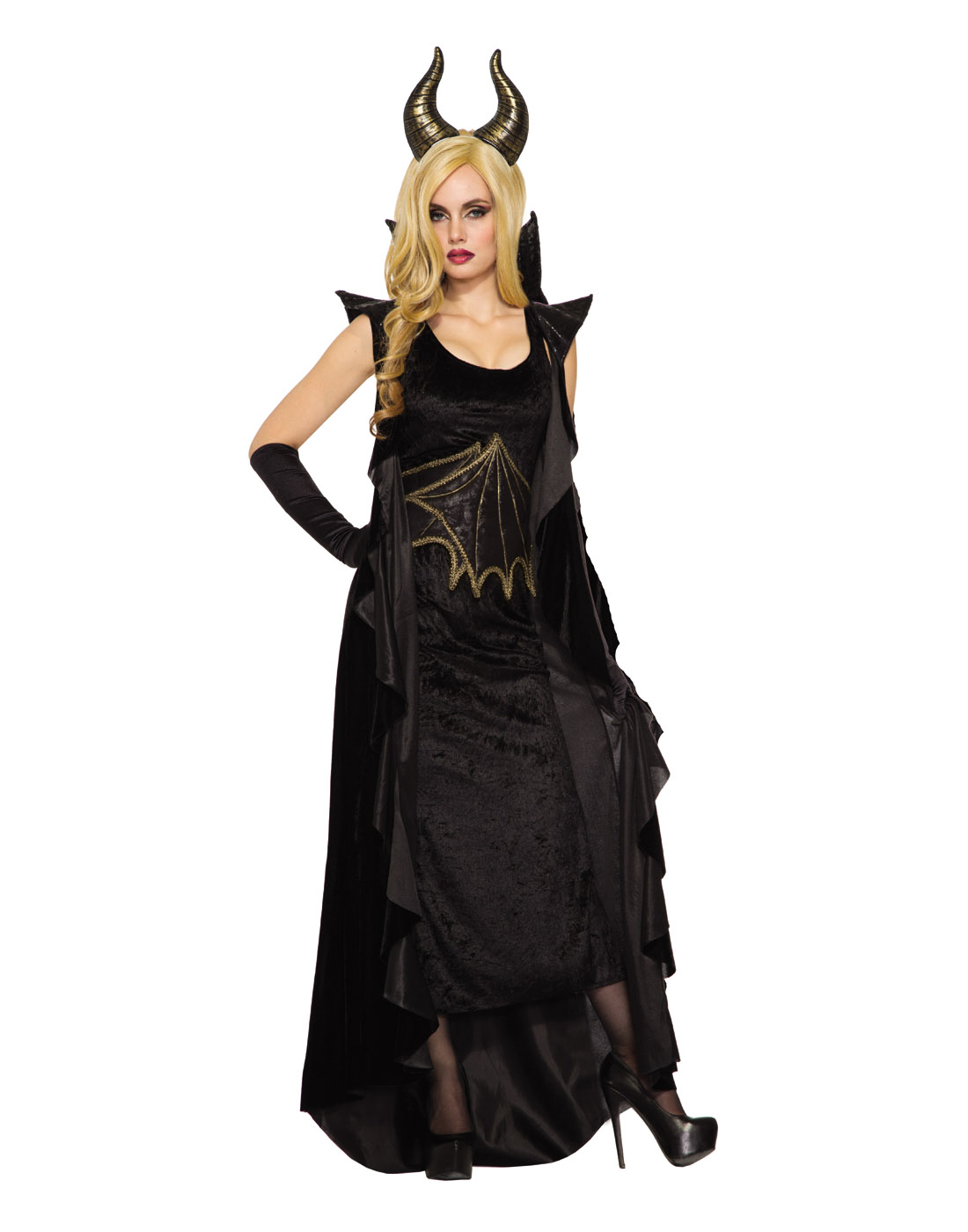 Details About Wicked Dragon Womens Adult Black Maleficent Halloween Costume Std