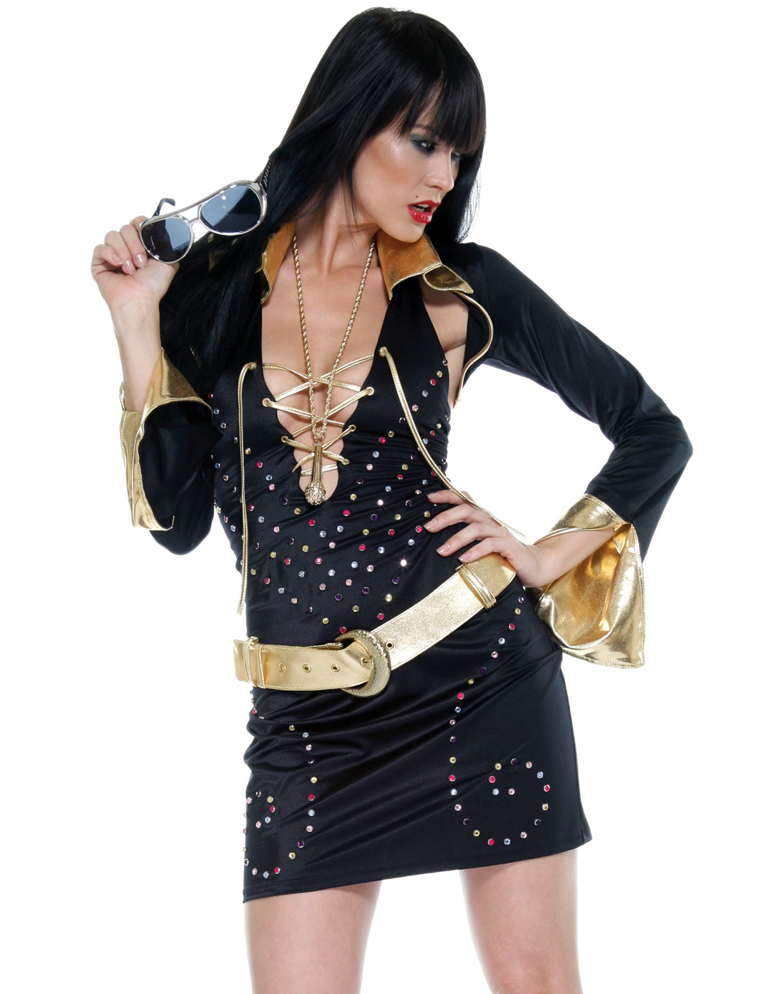 Elvis King Of Rock Vegas Superstar Costume  sc 1 st  eBay & Details about Elvis Sexy King Of Rock Vegas Superstar Mini Dress Womens Halloween Costume Xs/S