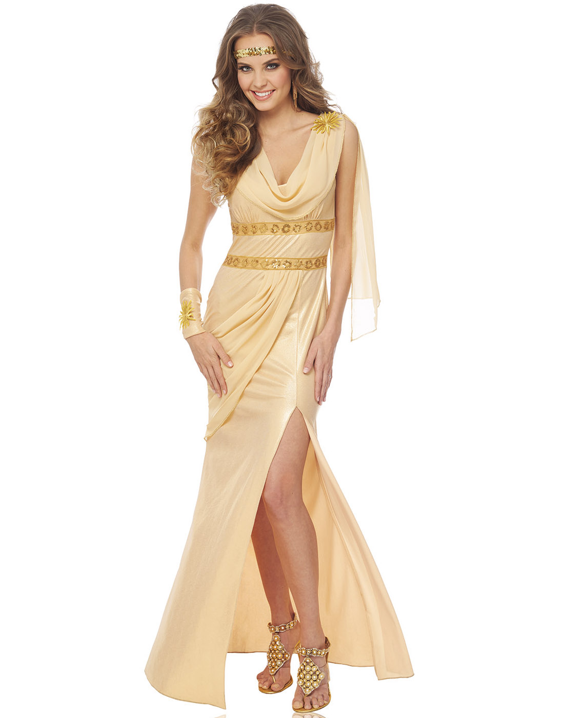 sun goddess womens roman greek gold toga adult halloween costume | ebay