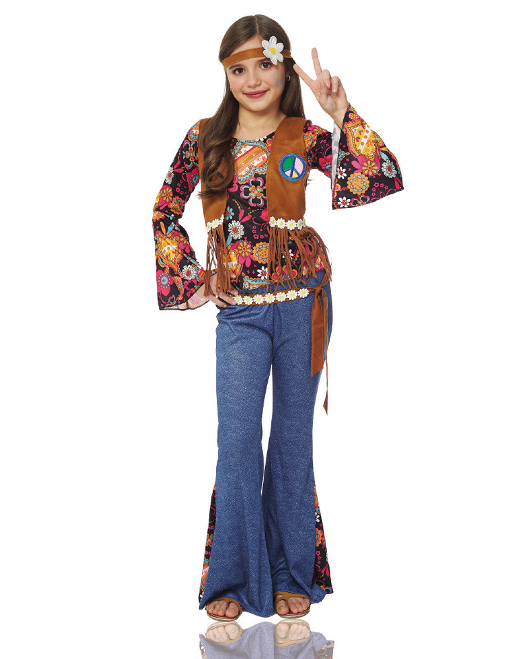 peace out girls hippie 70s flower child halloween costume | ebay