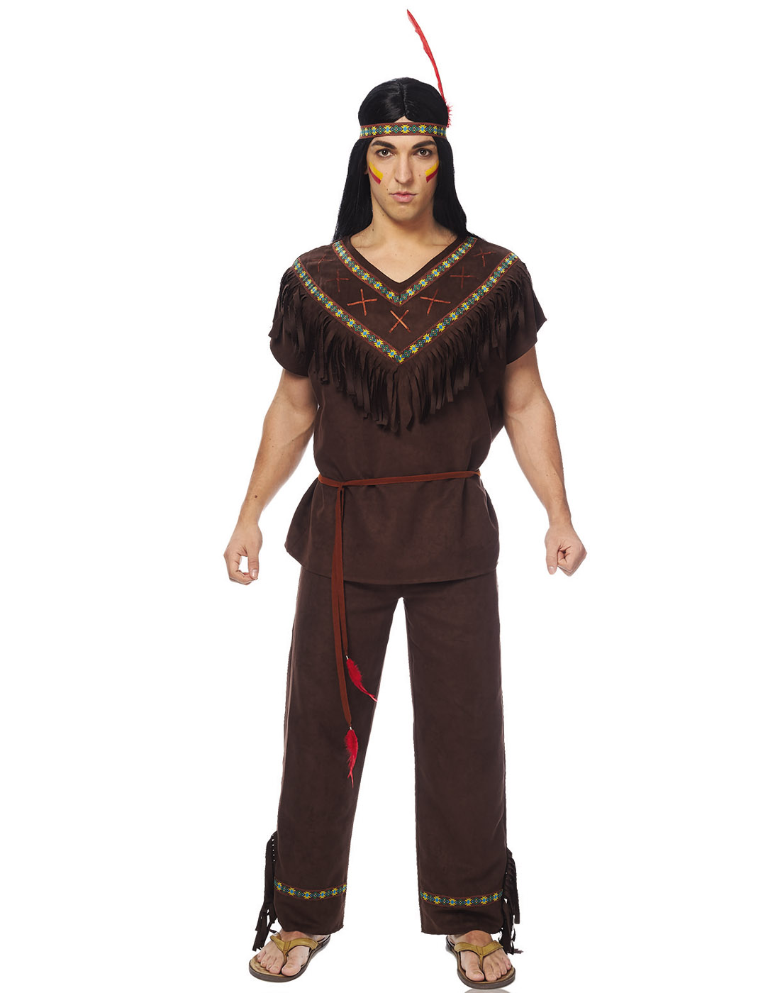 native american man men's dark brown indian halloween costume | ebay