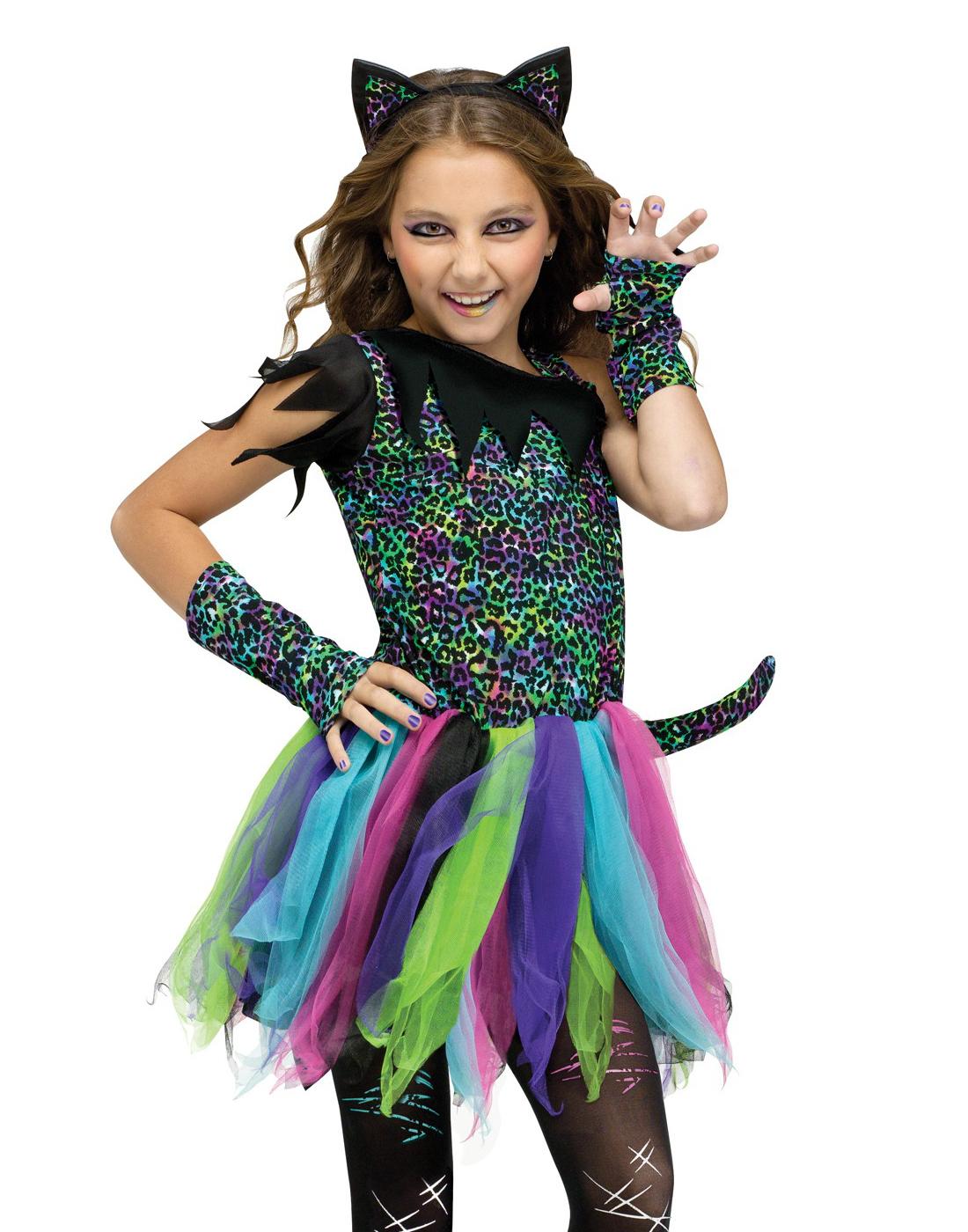bc397480bd Child Kids Girls Black Kitten Suit Tutu Wild Rainbow Cat Halloween ...