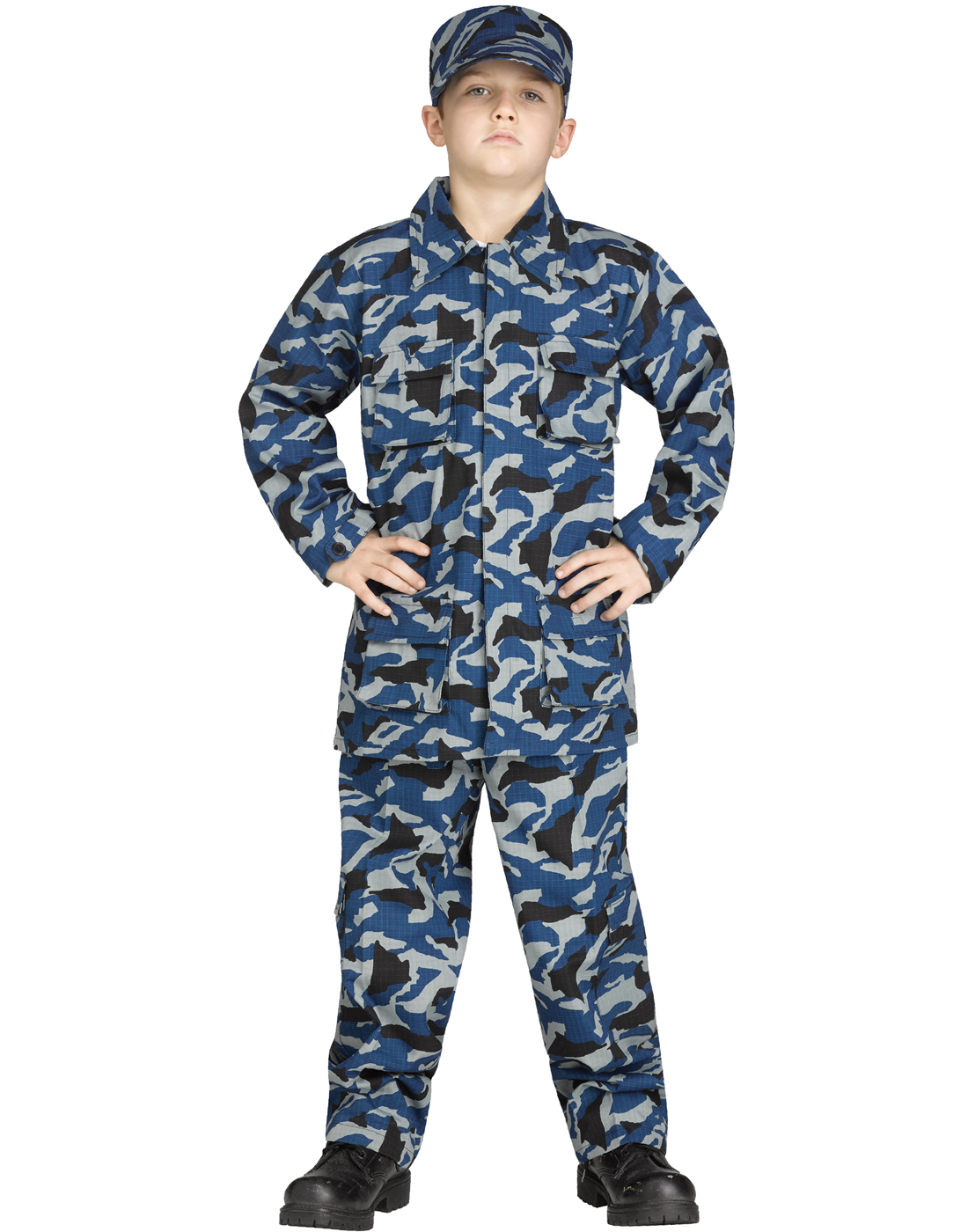 Navy Blue Camoflauge Uniform Boys Halloween Costume-L  sc 1 st  eBay & Blue Camouflage Uniform Boys Navy Soldier Cammies Halloween Costume ...
