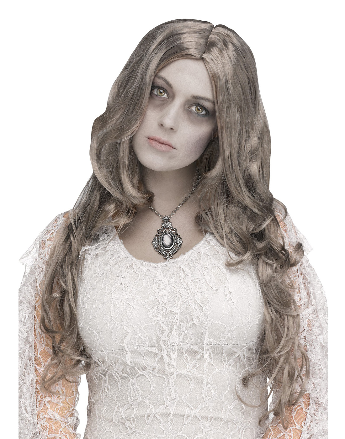 Silver Lady Womens Adult Grey Ghost Bride Costume Long Wavy Wig