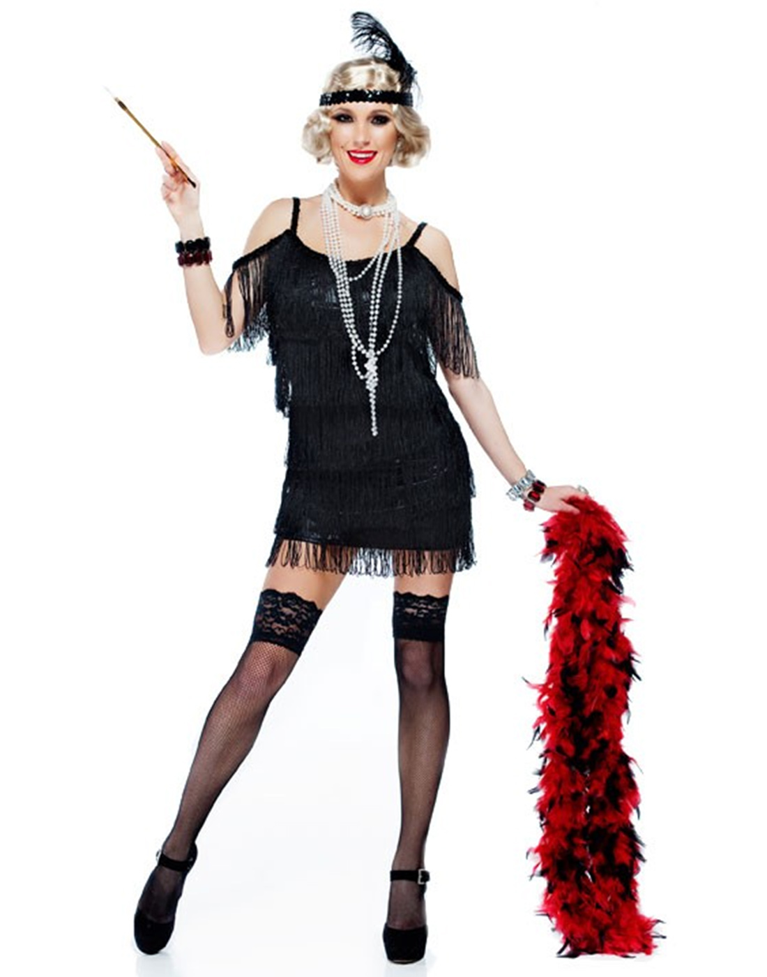 25a6e044f8cbc Black Tassel Manhattan 1920S Adult Plus Size Flapper Dress Costume ...
