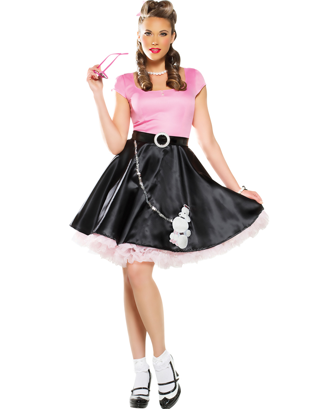 Black//Pink Grease 50/'s 50s Poodle Dress Sweetheart Child Costume