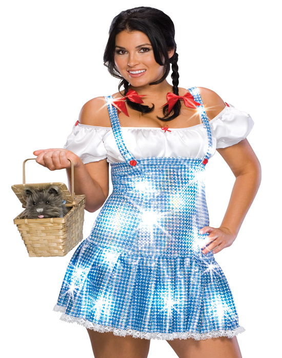 Plus Size Wizard Of Oz Dorothy Blue Sequin Off Shoulder Womens Halloween Costume