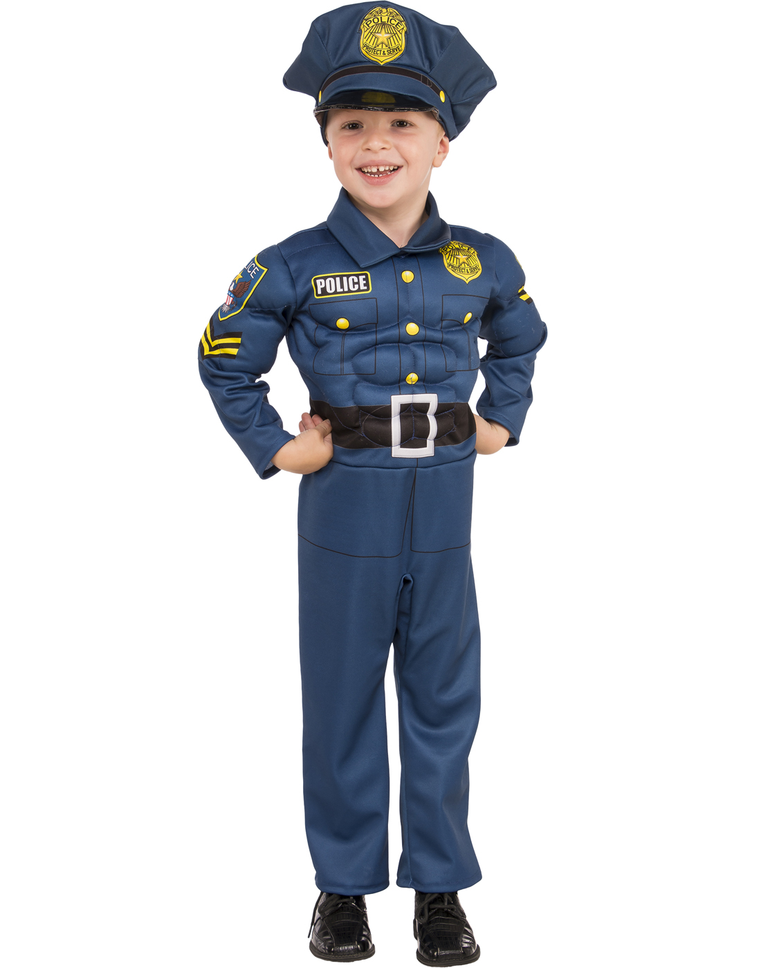 Top Cop Boys Police Costume  sc 1 st  eBay & Top Cop Boy Child Muscle Chest Police Blue Uniform Halloween Costume ...