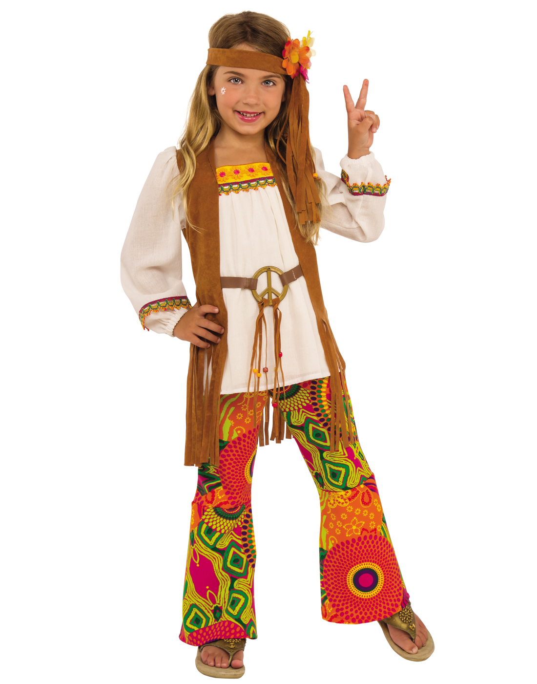 Flower Child Girls Hippie Costume  sc 1 st  eBay & Flower Child Girls Hippie 1960u0027S Peace Decades Halloween Costume | eBay
