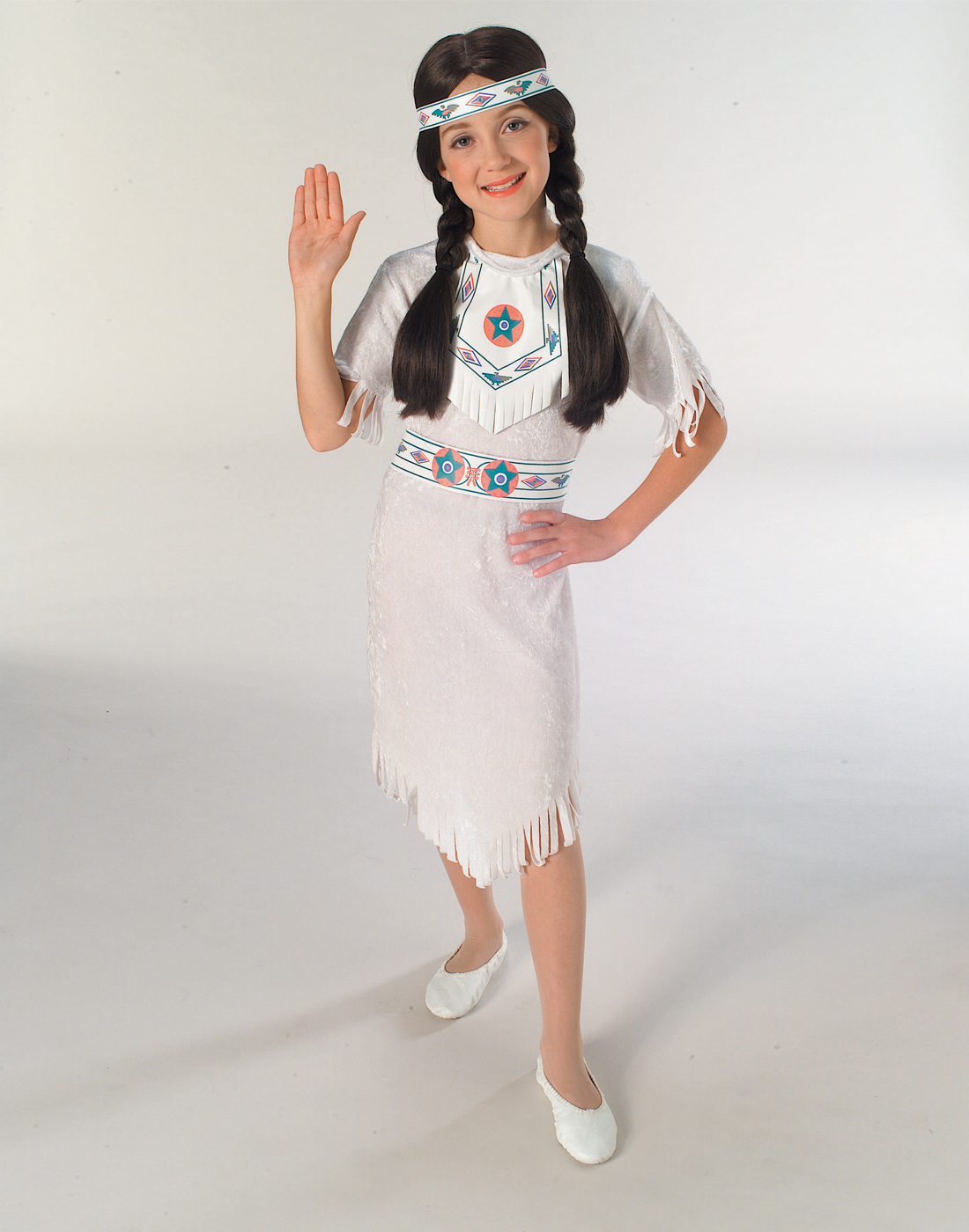 e6708d9eab Details about Girls Indian Classic White Native American Princess Costume