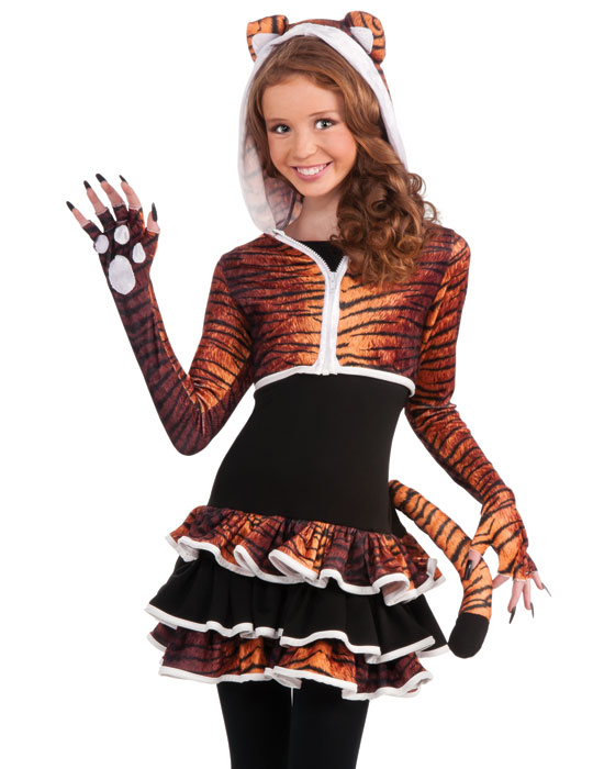 Wild Tigress Animal Costume Set  sc 1 st  eBay & Young Girls Cute Tigress Kitty Cat Tween Animal Teen Halloween ...