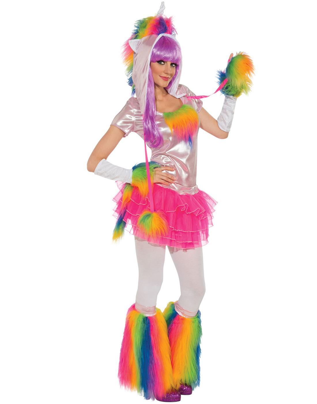 Rainbow Unicorn Rave Monster Hat Top Gloves Tutu Womens