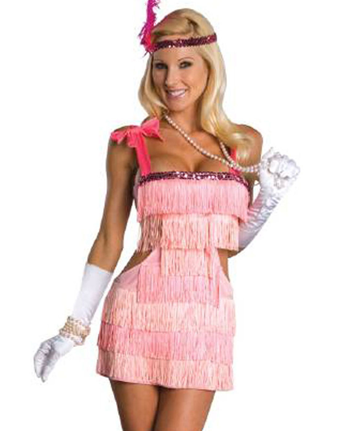 c690651eaf6e6 Details about Sexy Pink 20 S Fashion Flapper Showgirl Womens Halloween  Adult Costume