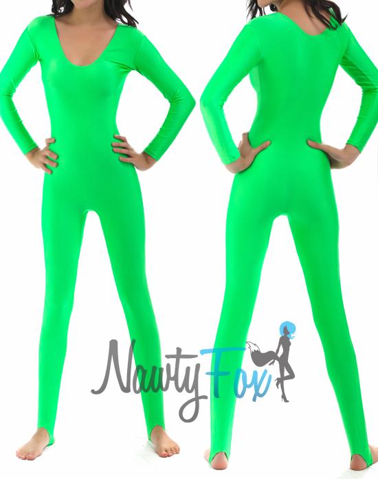 Neon Green Shiny Spandex Scoop Neck Long Sleeve Unitard Dancewear Bodysuit 75798e55b