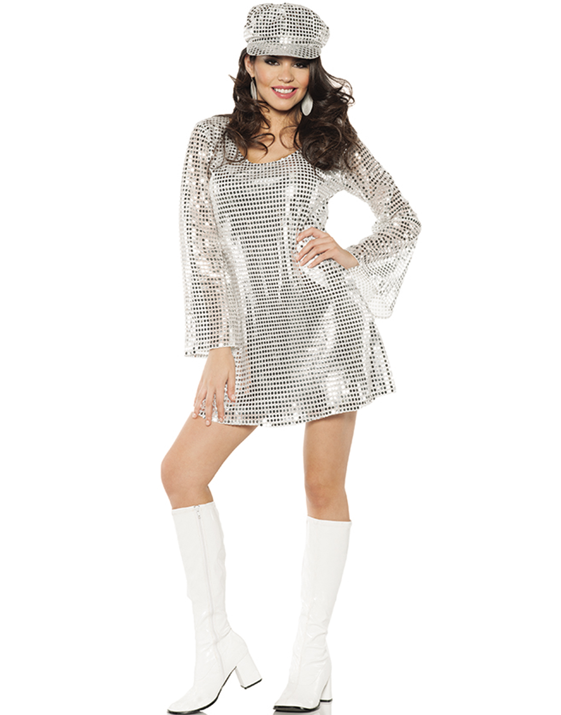 Shimmer Silver Metallic Womens 1970's Disco Outfit ...
