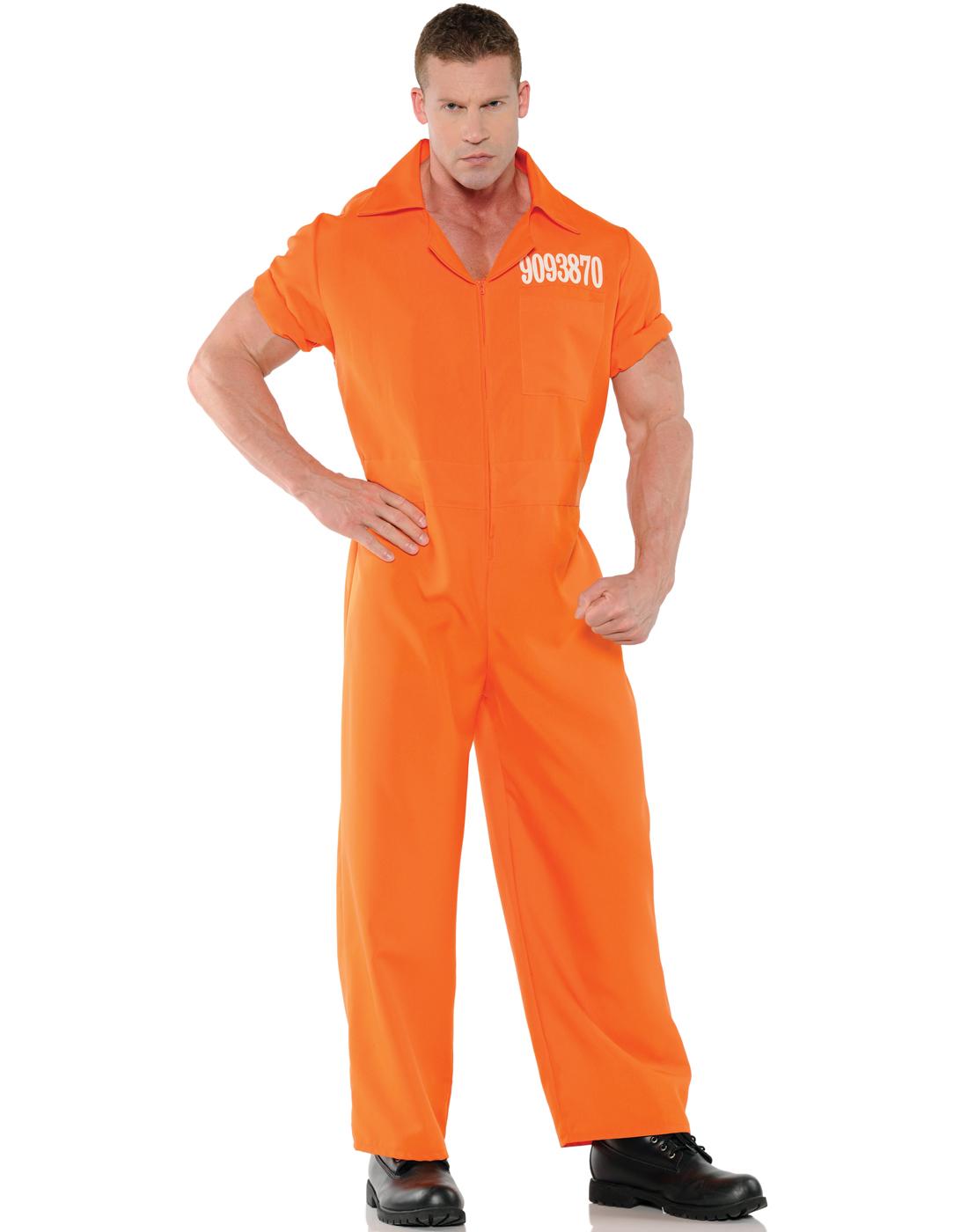 convicted mens orange convict prisoner orange jumpsuit halloween