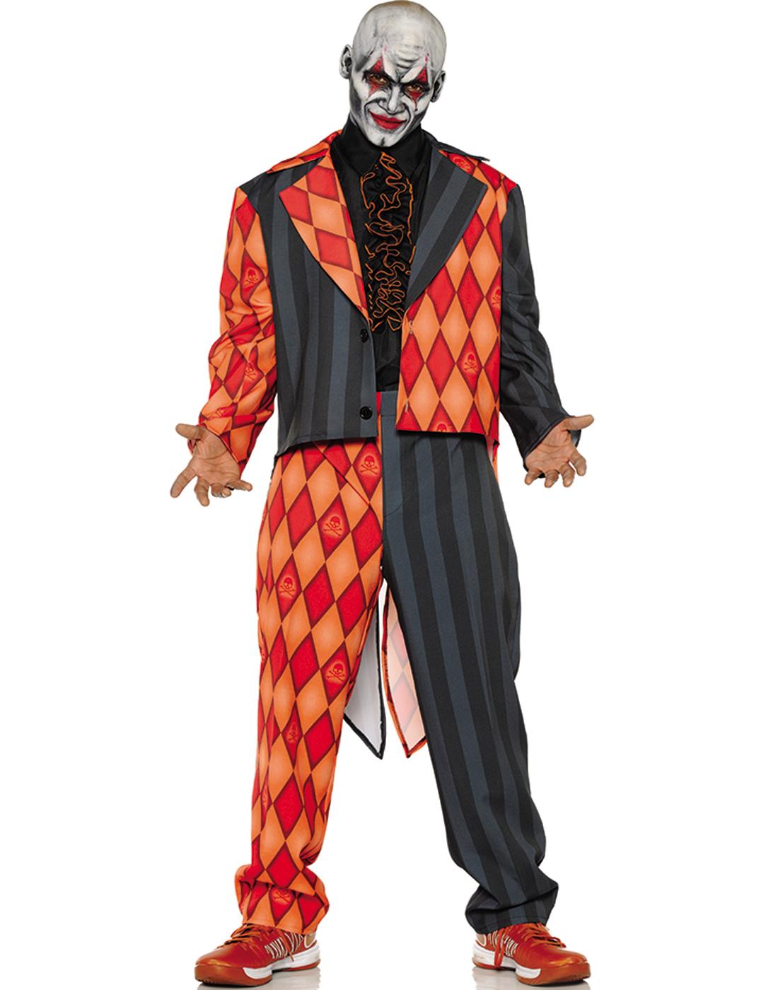 Halloween Costumes Scary Men.Details About Thriller Mens Scary Orange Black Clown Jester Tuxedo Halloween Costume