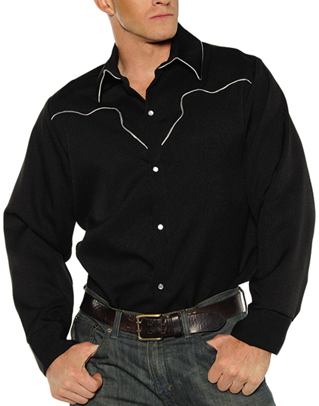 5a8a770c45e Details about Black Fancy Western Texan Rodeo Cowboy Adult Mens Costume  Shirt