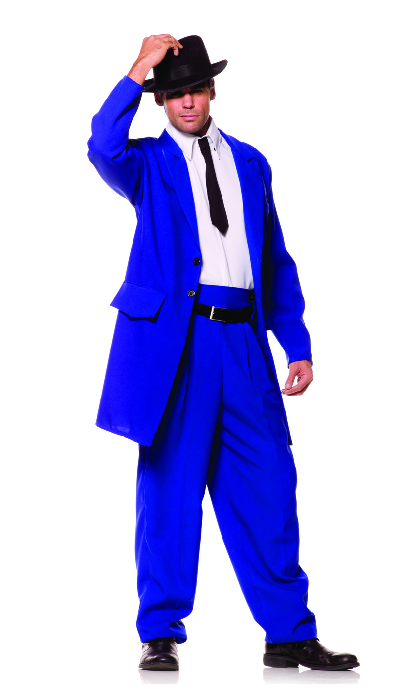 zoot suit mens 1920's blue gangster mobster suit halloween costume