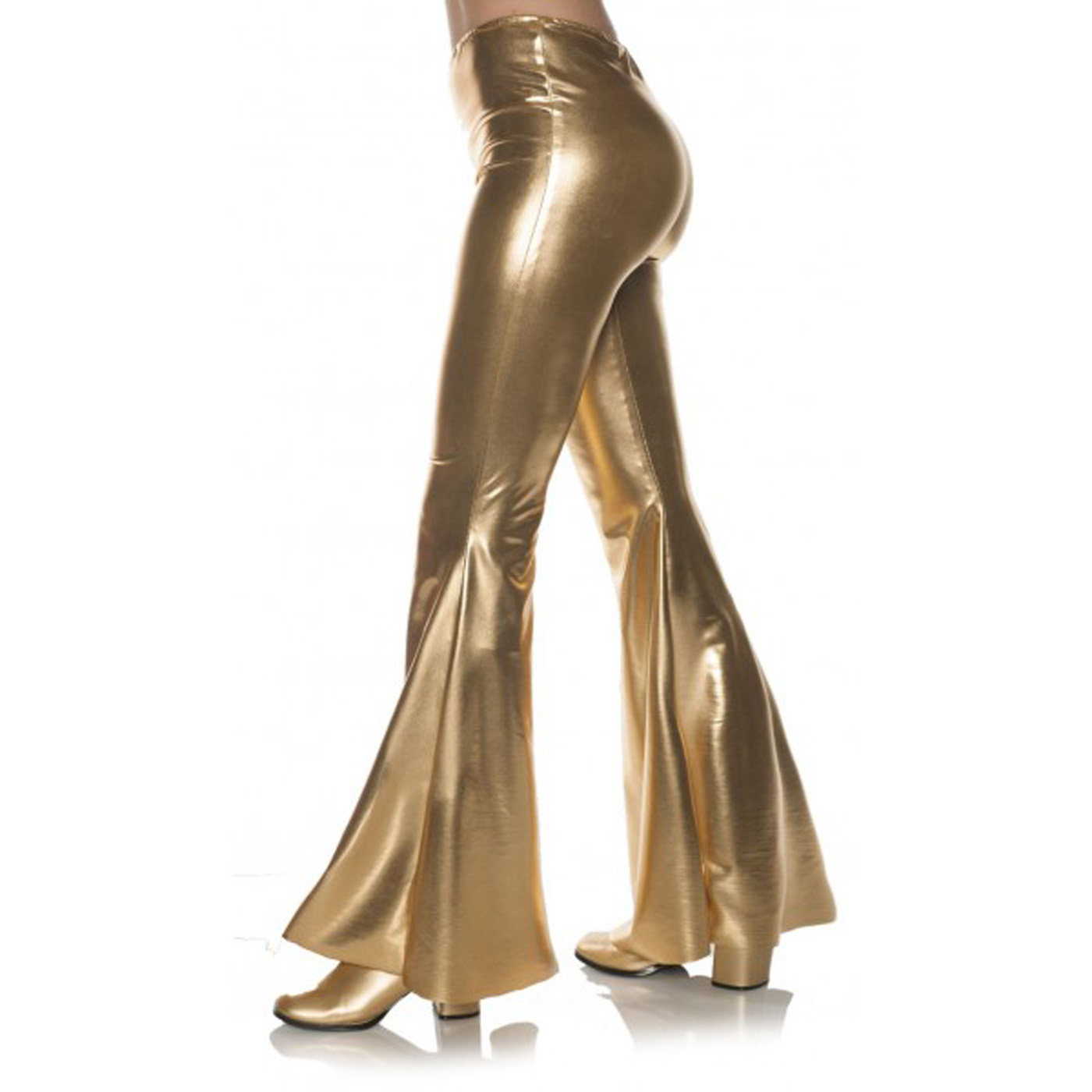 3a4feec7dad8d Details about Gold 70S Metallic Womens Adult Disco Costume Bell Bottoms  Pants