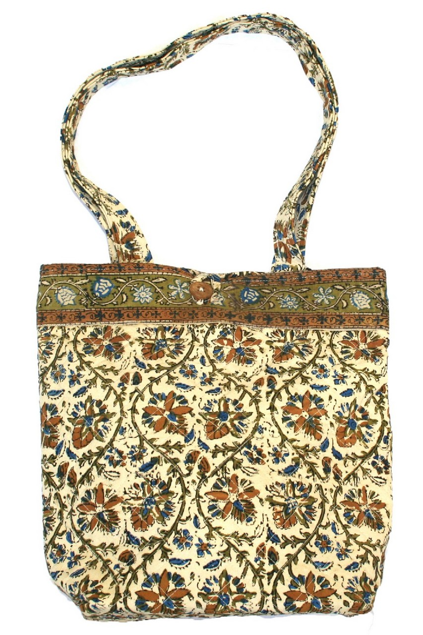 Block Printed Cotton Quilted Sanganeer Accessory Bag 8 x 6