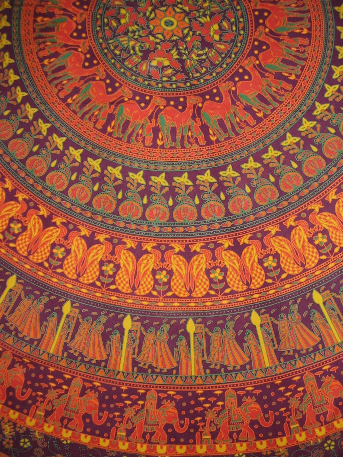 Indian Mandala Print Round Cotton Tablecloth 80 Burgundy