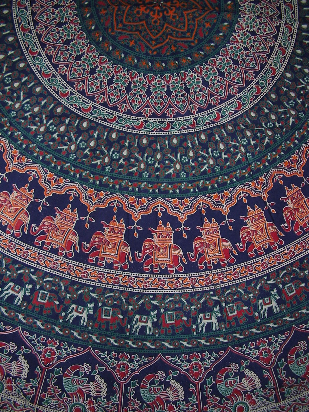 Indian Mandala Print Round Cotton Tablecloth 80 Quot Blue Ebay