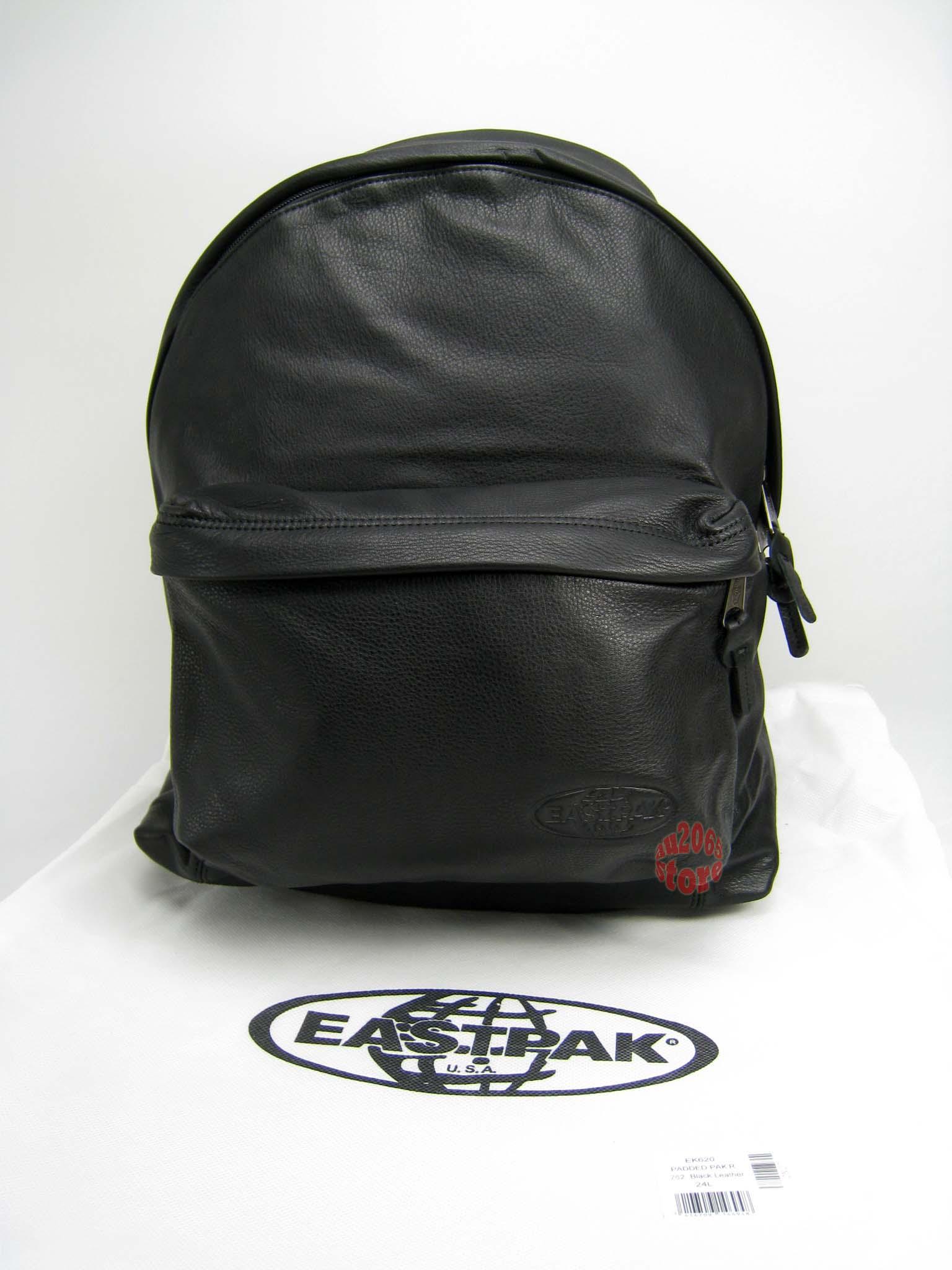 Leather Eastpak Backpack: Eastpak EK620 Padded Bag BACKPACK Black Leather W. Laptop