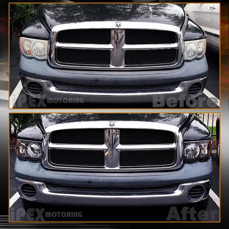 Set For 2002-2005 Dodge Ram 1500 2500 3500 Black Headlights W/ Black