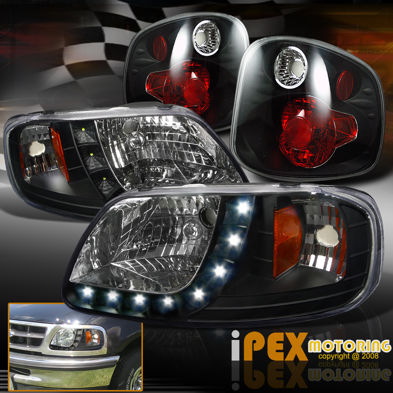F150 Tail Lights >> 2001-2003 Ford F150 King Ranch SVT Lightning LED Headlights Black + Tail Lights | eBay