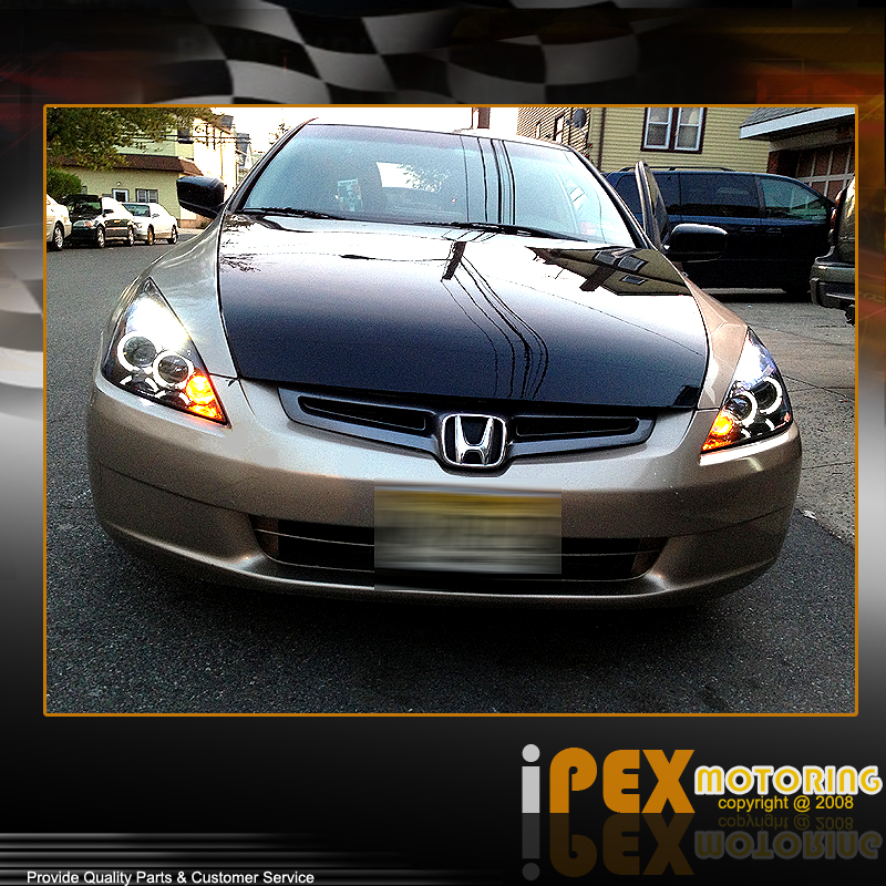 Beautiful For 03 07 Honda Accord 2Dr Coupe/4Dr Sedan Halo Projector LED Headlights  Black | EBay