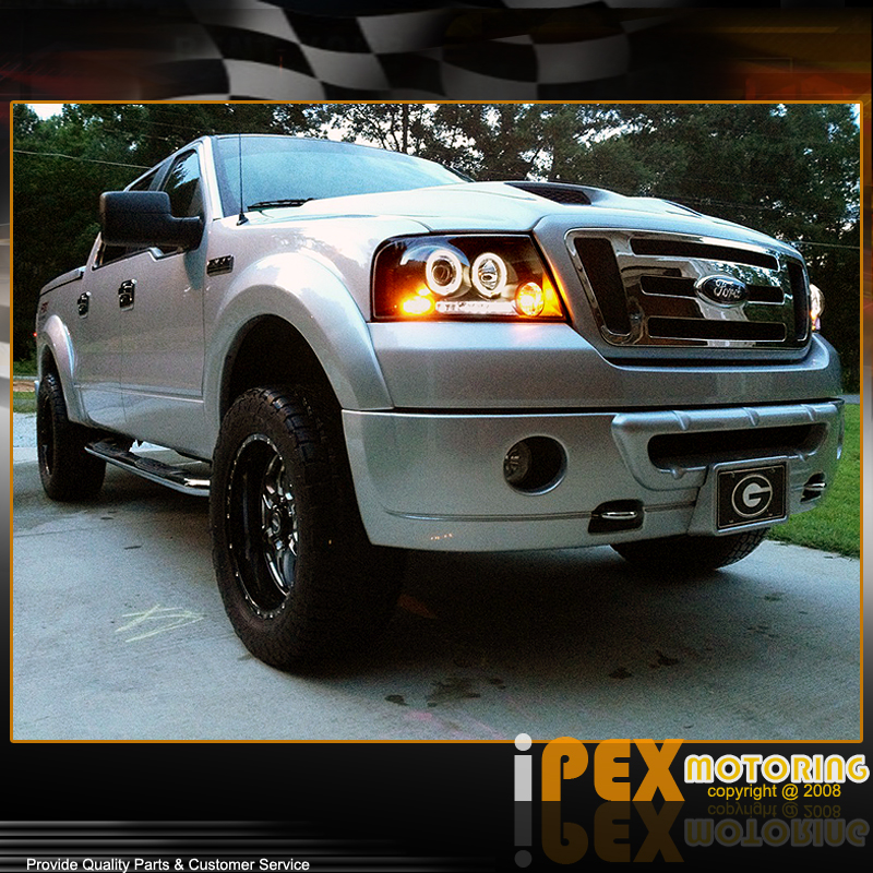 For 2004 2008 Ford F150 Led Halo Projector Headlights W Black Euro